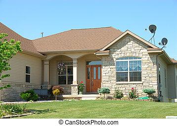 résidentiel, américain, ranch, maison