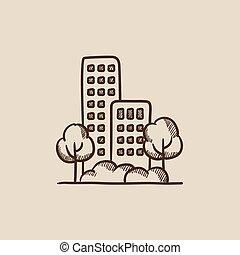 résidentiel, bâtiment, à, arbres, croquis, icon.