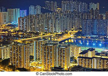 résidentiel, bâtiment, dans, hong kong