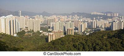 résidentiel, bâtiments, dans, hong kong