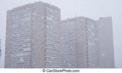 résidentiel, bâtiments, neige, fond, tomber