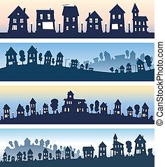 résidentiel, bannières, maison