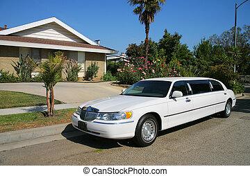 résidentiel, blanc, house., limousine, suivant
