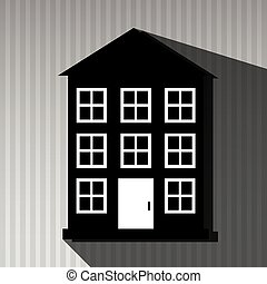 résidentiel, conception, icône