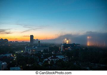 résidentiel, coucher soleil, sky., bâtiments, nuageux, vue