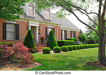 résidentiel, deux histoire, brique, maison