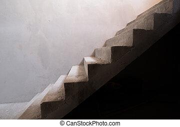 résidentiel, escalier, maison, béton, construction, sous, bâtiment, structure