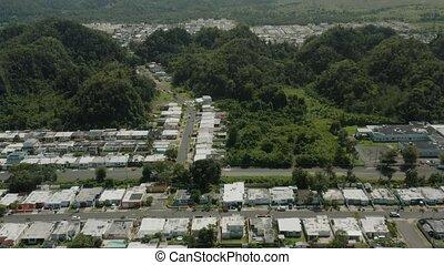 résidentiel, establishing, puerto, prise vue aérienne, secteur, rico.