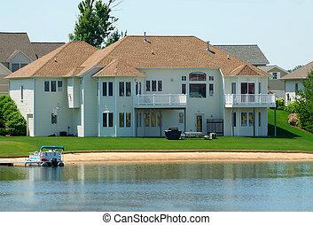 résidentiel, haut gamme, lakeside, maison
