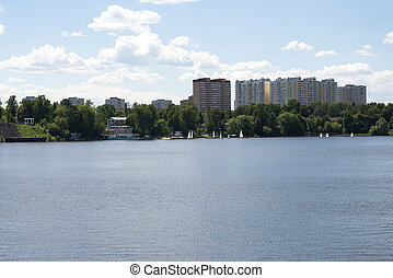 résidentiel, high-rise., rivière, vue