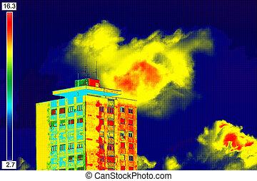 résidentiel, image, thermique, bâtiment