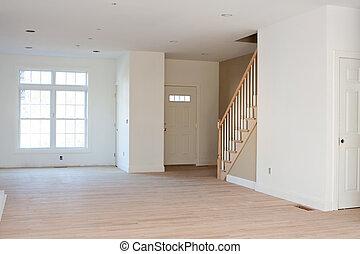 résidentiel, inachevé, intérieur maison