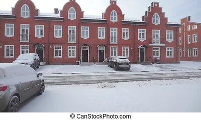 résidentiel, loin, neige, déblayement, secteur