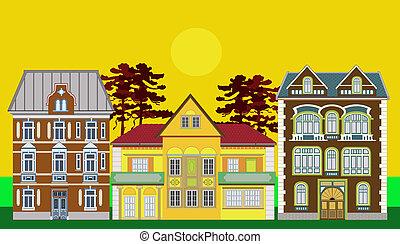 résidentiel, magnifique, trois, maisons