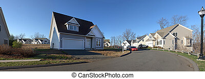 résidentiel, maison, panorama