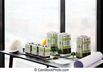 résidentiel, modèle, trimestre