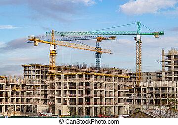 résidentiel, murs, travail, russie, complexe, nouveau, bâtiments., grues, forest'., moscou, construction, troisième, 'in, étape