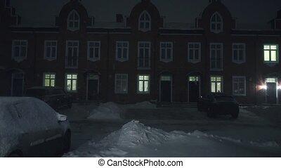 résidentiel, nuit, maison mitoyenne, chute neige, secteur
