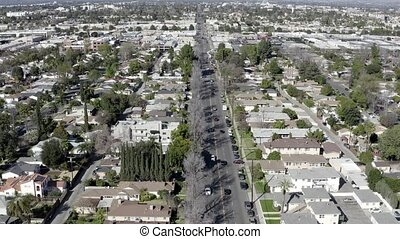 résidentiel, nuys, bourdon, aérien, banlieue, vue, californie, maisons, fourgon