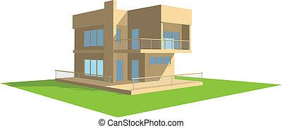 résidentiel, perspective, maison
