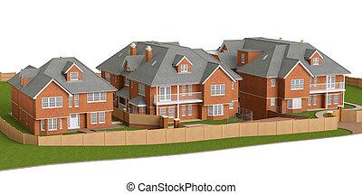 résidentiel, petite maison, maisons