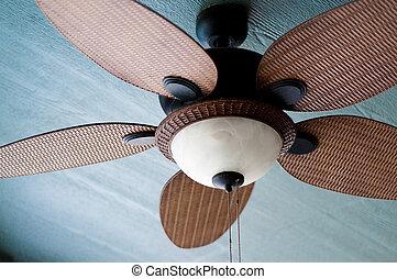 résidentiel, plafond, extérieur, ventilateur, maison