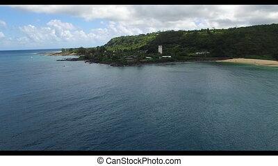 résidentiel, rivage, secteur, bord mer, rocheux
