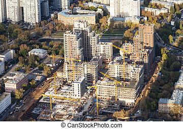 résidentiel, site construction, district, vue