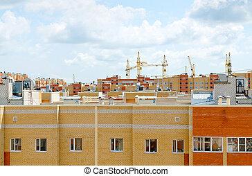 résidentiel, sommet, construction, vue, voisinage