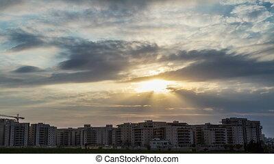 résidentiel, sur, nuages, secteur