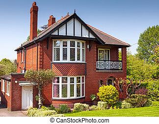 résidentiel, typique, propriété, anglaise