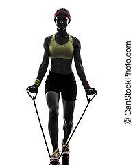 résistance, exercisme, silhouette, bandes, séance entraînement, femme, fitness