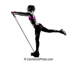 résistance, silhouette, bandes, exercices, femme, fitness