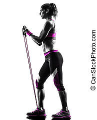 résistance, silhouette, bandes, femme, fitness