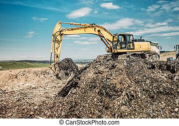 résistant, industriel, déchets, excavateur, dumpsite, exclusivité, utilisation, travaux