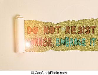 résister, texte, it., positif, déchiré, nouveau, essayer, choses, bois, pas, concept, changement, milieu, au-dessus, table., signification, classique, changements, carton, placé, être, ouvert, écriture, embrasser