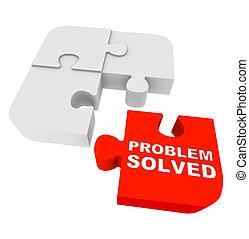 résolu, puzzle, -, problème, morceaux