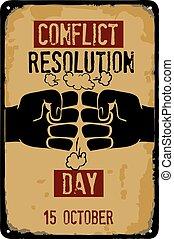 résolution, conflit, signe, vieux, jour