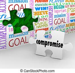 résolution, mur, puzzle, différence, résoudre, ho, compromis, morceau, conflit