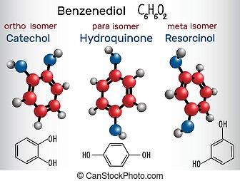 résorcinol, -, molécule, formule, catechol, structural, hydroquinone, chimique, model.