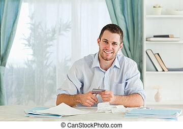 résoudre, détruire, sien, carte, homme affaires, crédit, ...