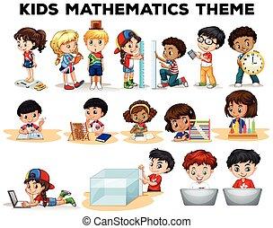 résoudre problèmes, math, gosses