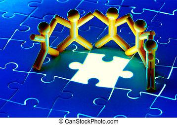 résoudre, puzzle, travail, problème, équipe