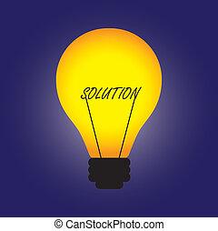 résoudre, représenter, graphique, etc., solution, word., création, idée, illustration, créatif, innovation, aussi, remplacé, boîte, conceptuel, ampoule, problème, solution, filament