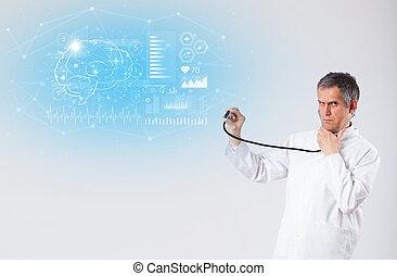 résultat, essai, neurologue, projection