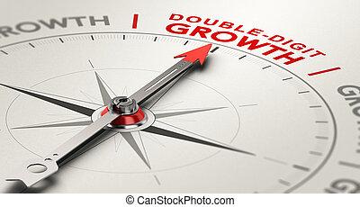 résultats, concept, croissance, double-digit, rate., annuel
