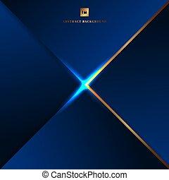 résumé, éclairage bleu, frontière, fond, doré, triangles, géométrique, effect.