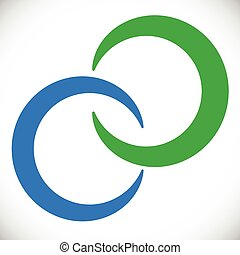 résumé, élément, logo, cercles, enclencher, rings., bleu vert
