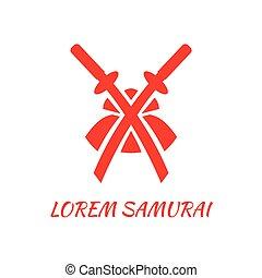 résumé, épées, deux, samouraï, traversé, logo, helmet., template., rouges