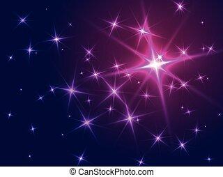 résumé, étoiles, fond, violet